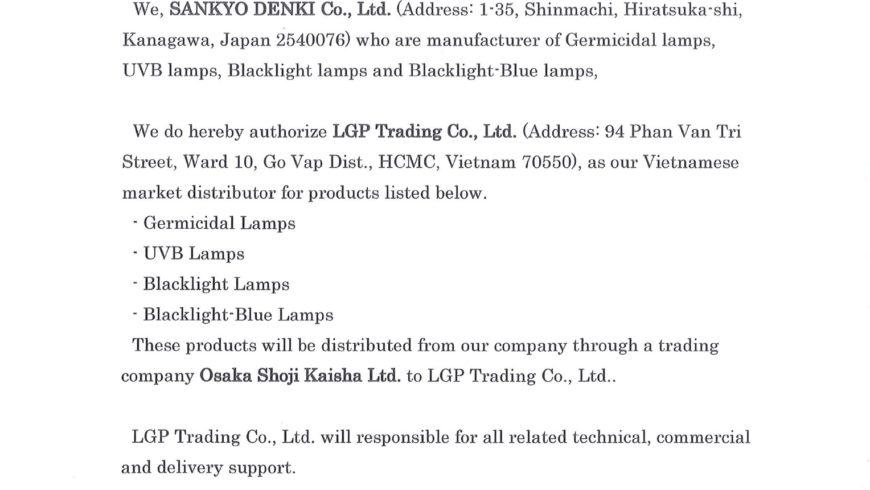 Chứng nhận đại lý Sankyo Denki tại Việt Nam
